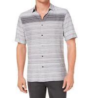 Alfani Mens Shirt Gray Size Large L Stripe Print Short Sleeve Button Up $55 #466