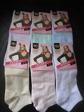 Ladies cotton blend trainer socks/liners sizes 3-5, 5-7 Plain Pastel by Leonfit