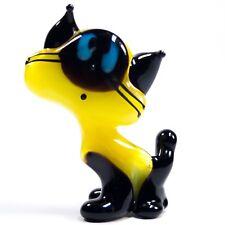 Glass Figurine. Siamese KITTEN miniature Murano CAT Dollhouse lampwork. VIDEO