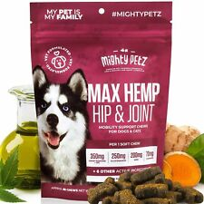 Hemp Hip & Joint Supplement for Dogs MSM Glucosamine Chondroitin 60 Chews USA
