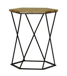 Uniquely Shaped Wooden Hexagonal Lamp Table with an Iron base