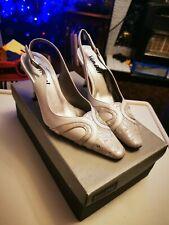 Nuevo Blanco y Plata Vintage de VAN DAL ZAPATOS TALLA 3 Tacón Zapatos de novia boda