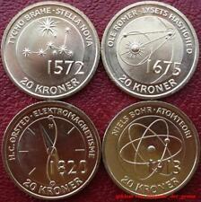 Dinamarca Denmark 4 monedas conmemorativas 20 kroner 2013 inventos + científicos UNC
