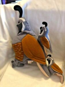 "Folkmanis Folktails Quail Gray Tan Bird Hand Puppet 10"" w/Babies Retired"