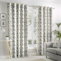 "Fusion ""Aura"" Ditsy Floral 100% Cotton Fully Lined Eyelet Curtains Grey"
