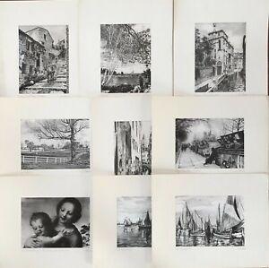 9 Serigrafie firmate di Giuseppe Mario D'Amico (Venezia, Parigi e altri)