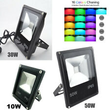 10/30/50W RGB LED Dimmable Flood Light Waterproof Spotlight + Remote Contol New