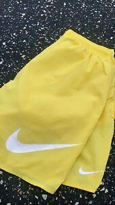 Vintage 90's NIKE Swoosh Yellow Swim Shorts Men's Sz L Rare