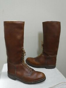 Men's Vtg HANDMADE CUSTOM 11 Brown Leather Tall Lace Up Equestrian Riding Boots