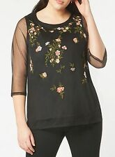 Evans Black Floral Embroidered Top Size 30 rrp £35.00 RE076 DD 04