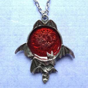 Alchemy Gothic Blood Moon Red Bat Pendant Necklace Pewter Enamel UK Made P447
