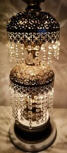 Vintage Hollywood Regency Waterfall Crystal Prisms Gold And Marble Table Lamp