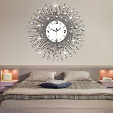 Modern Quartz MetallWanduhren Wohnuhr Uhrwerk  Wandtatoo Wand Dekoration Silber