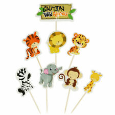24Pcs Cartoon Animal Cake Topper Jungle Safari Kid Birthday Party Cake Decor