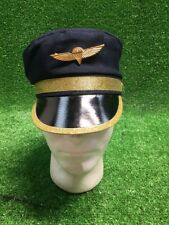Rare Deluxe Adult Blue Cloth Pilot Hat with Wings Badge Costume Halloween