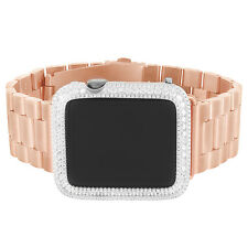 Space Gray Apple Watch Simulated Diamonds Iced Out iOS Rose Gold Tone Band 42mm