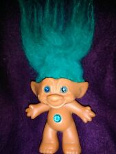 "Russ 5"" troll with turquoise hair and wishstone"