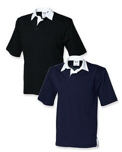 Front Row Short Sleeve NAVY BLUE or BLACK Rugby Shirt