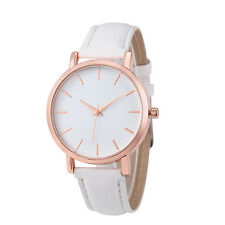 Women Casual Watches White Leather Stainless Steel Analog Quartz Watch #OL9