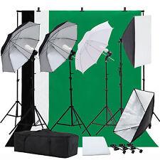 Photo Studio Photography Lighting Kit Umbrella Softbox Muslin Backdrop Stand Set