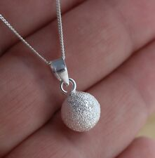 925 Sterling Silver 10mm Frosted Ball Pendant Charm Necklace Jewellery
