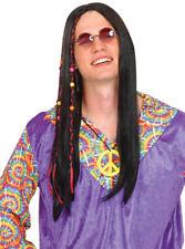 Hippie Wig Black or Blonde 60's 70's Hippy Mens Womens Fancy Dress Costume