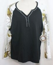 1X REALTREE Womens Knit black camo long sleeve top shirt Cotton Blend NWT
