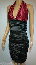 VICKY MARTIN sexy black red satin gathered bodycon fitted halter dress 8 10 BNWT