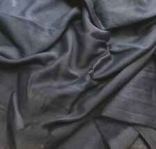 Silk/Cotton Voile Batiste Fabric Hand Dyed DARK DENIM BLUE 1/3 yd remnant
