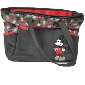 """Disney Baby Mickey Mouse Diaper / Day / Tote Bag w/ Pad - Black & Red - 19""""x12"""""""