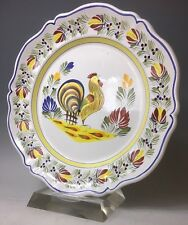 "Henriot Quimper Scalloped Platter Hand Painted Rustic Rooster Chicken 13"" French"