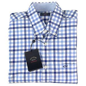 Paul & Shark Mens Long Sleeve Button Down Shirt Blue White Check Size M 40 NEW