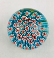 Vintage Clichy Style Art Glass Paperweight Flower Center Blue Red White