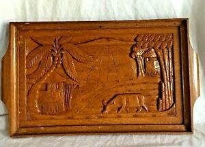 Tray Wood Asian Hand Carved Water Buffalo Palms Rice Paddies Palm Wall Hanging