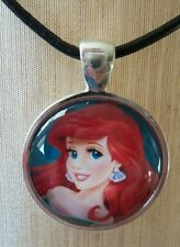 """ARIEL"" Disney's My Little Mermaid. Glass Pendant with Leather Necklace"
