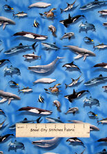 Ocean Fish Dolphin Whale Fabric ~ 100% Cotton By The Yard ~ World Atlas Turtle
