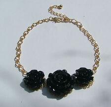 33cm - 38.1cm schwarz Rose Blumen Gold pl filigraner Choker Halskette Ohrringe