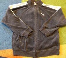 Boys Size 6 Puma Jacket Zip Up Gray With White Stripes Youth Spring summer