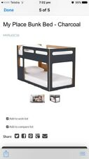 Single Bunk Bed by Domayne, charcoal grey near new, very good condition pick up