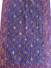 OLD Vintage  FABRIC Throw Embroidery INDIAN Wall hanging Hand Made  Purple Boho