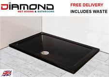 1100x900 BLACK ULTRA GLOSS Rectangle Stone Slimline Shower Tray 40mm inc Waste