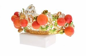 NEW DOLCE & GABBANA Crown Gold Brass Crystal Sicily Orange ARANCE Head Tiara
