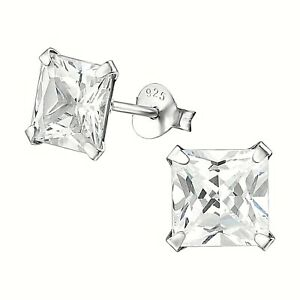 Solid 925 Sterling Silver Stud Earrings Big Square Cubic Zirconia New + Gift Bag