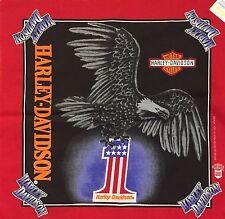 Vintage Harley Davidson Bandana Handkerchief Scarf Eagle #1 Black Red Biker NOS