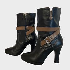 GEOX Ladies Womens Boots Size UK 5.5 Eu 38.5 Black Beige Mid Calf Boots