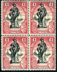 MALTA-1925 £1 Black & Bright Carmine.  A mint block of 4 (3 UMM) folded Sg 140