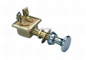Heavy Duty Push Pull Switch 2 position ON-OFF Chrome Knob and Bezel Nut g