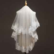 USA White/Ivory 2 Layers Elbow Length Wedding Bridal Veil With Comb Lace Edge