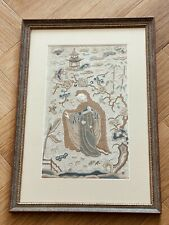 More details for antique chinese silk embroidery panel - framed - late 18th / early 19th century