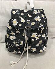 GHANDA Backpack Girls Bag Duffel Gym Overnight Carry On Black Flower Canvas [D]
